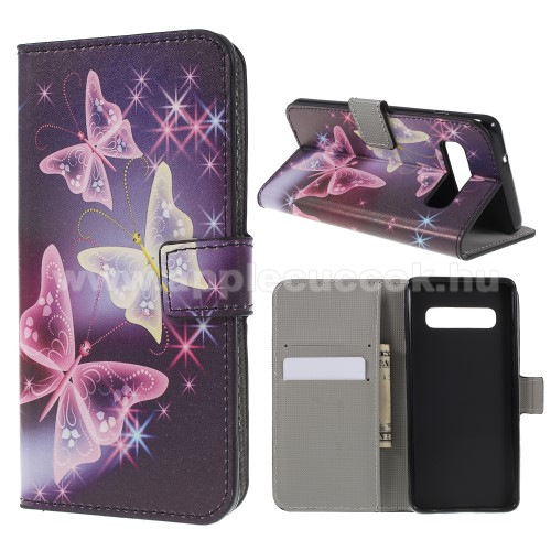Notesz / mappa tok - PILLANGÓ MINTÁS - oldalra nyíló, rejtett mágneses záródás, belső zseb, asztali tartó funkció, szilikon belső - SAMSUNG SM-G973F Galaxy S10