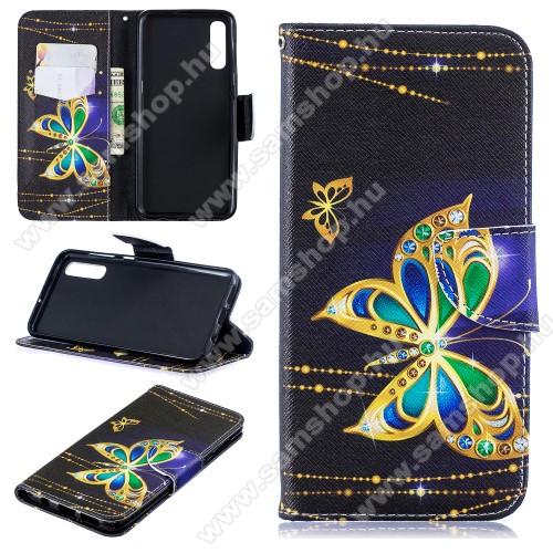 Notesz / mappa tok - PILLANGÓ MINTÁS - oldalra nyíló, rejtett mágneses záródás, belső zseb, asztali tartó funkció, szilikon belső - SAMSUNG SM-A307F Galaxy A30s / SAMSUNG SM-A505F Galaxy A50 / SAMSUNG Galaxy A50s