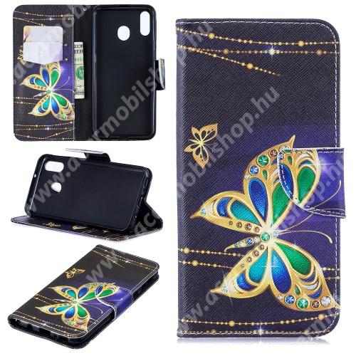 Notesz / mappa tok - PILLANGÓ MINTÁS - oldalra nyíló, rejtett mágneses záródás, belső zseb, asztali tartó funkció, szilikon belső - SAMSUNG SM-M205F Galaxy M20