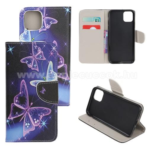 Notesz / mappa tok - PILLANGÓ MINTÁS - oldalra nyíló, rejtett mágneses záródás, belső zseb, asztali tartó funkció, szilikon belső - APPLE iPhone 11 Pro