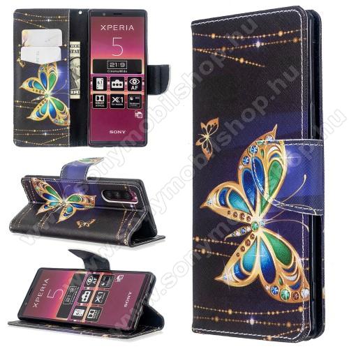 Notesz / mappa tok - PILLANGÓ MINTÁS - oldalra nyíló, rejtett mágneses záródás, belső zseb, asztali tartó funkció, szilikon belső - Sony Xperia 5