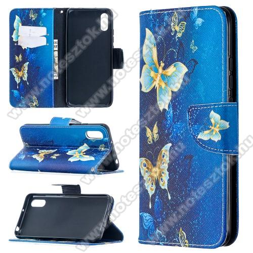 Notesz / mappa tok - PILLANGÓ MINTÁS - oldalra nyíló, rejtett mágneses záródás, belső zseb, asztali tartó funkció, szilikon belső - Xiaomi Redmi 9A / Xiaomi Redmi 9AT