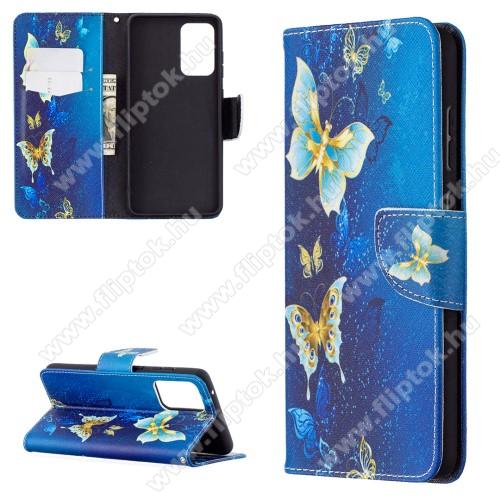 Notesz / mappa tok - PILLANGÓ MINTÁS - oldalra nyíló, rejtett mágneses záródás, belső zseb, asztali tartó funkció, szilikon belső - SAMSUNG Galaxy A72 5G (SM-A726F) / Galaxy A72 4G (SM-A725F)