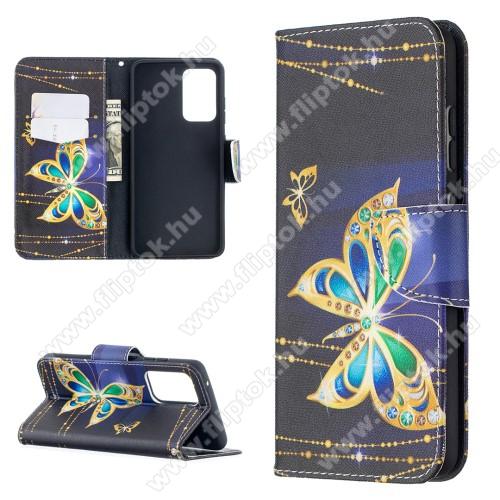 Notesz / mappa tok - PILLANGÓ MINTÁS - oldalra nyíló, rejtett mágneses záródás, belső zseb, asztali tartó funkció, szilikon belső - SAMSUNG Galaxy A52 5G (SM-A526F) / Galaxy A52 4G (SM-A525F)