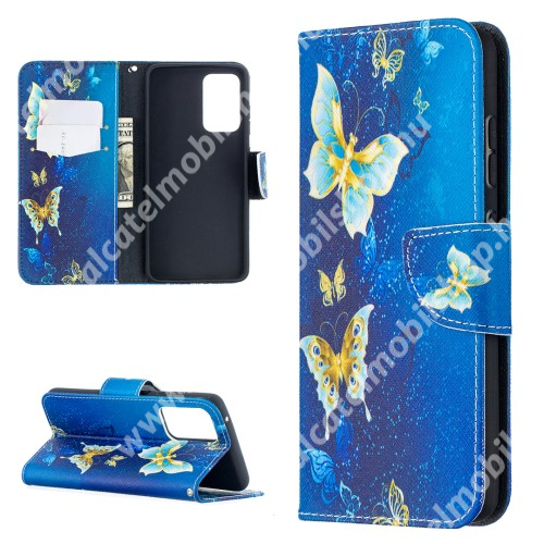 Notesz / mappa tok - PILLANGÓ MINTÁS - oldalra nyíló, rejtett mágneses záródás, belső zseb, asztali tartó funkció, szilikon belső - SAMSUNG Galaxy A52 5G (SM-A526F) / A52 4G (SM-A525F) / A52s 5G (SM-A528B / SM-A528B/DS)