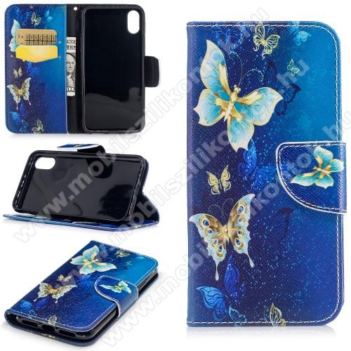 Notesz / mappa tok - PILLANGÓ MINTÁS - oldalra nyíló, rejtett mágneses záródás, belső zseb, asztali tartó funkció, szilikon belső - APPLE iPhone X / APPLE iPhone XS