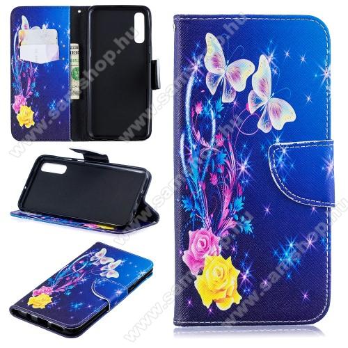 Notesz / mappa tok - PILLANGÓ / RÓZSA MINTÁS - oldalra nyíló, rejtett mágneses záródás, belső zseb, asztali tartó funkció, szilikon belső - SAMSUNG SM-A307F Galaxy A30s / SAMSUNG SM-A505F Galaxy A50 / SAMSUNG Galaxy A50s