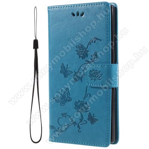 Notesz / mappa tok - PILLANGÓ / VIRÁG MINTÁS - KÉK - oldalra nyíló, rejtett mágneses záródás, belső zseb, asztali tartó funkció, szilikon belső - SONY Xperia L2