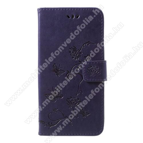 Notesz / mappa tok - PILLANGÓ / VIRÁG MINTÁS - SÖTÉTLILA - oldalra nyíló, rejtett mágneses záródás, belső zseb, asztali tartó funkció, szilikon belső - APPLE iPhone Xr