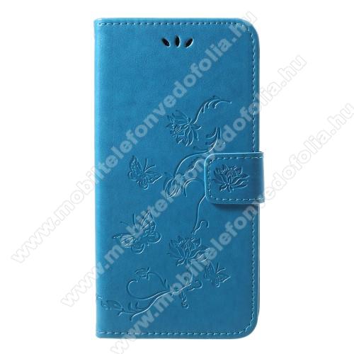 Notesz / mappa tok - PILLANGÓ / VIRÁG MINTÁS - KÉK - oldalra nyíló, rejtett mágneses záródás, belső zseb, asztali tartó funkció, szilikon belső - APPLE iPhone Xr