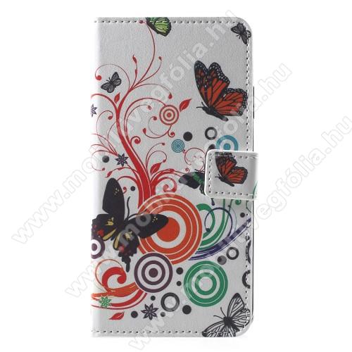 Notesz / mappa tok - PILLANGÓ / VIRÁG MINTÁS - oldalra nyíló, rejtett mágneses záródás, belső zseb, asztali tartó funkció, szilikon belső - APPLE iPhone Xr