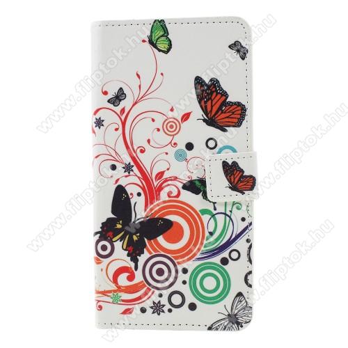 Notesz / mappa tok - PILLANGÓ / VIRÁG MINTÁS - oldalra nyíló, rejtett mágneses záródás, belső zseb, asztali tartó funkció, szilikon belső - Sony Xperia XZ3