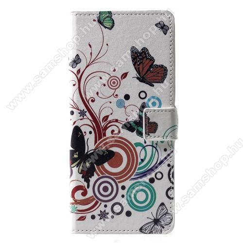 Notesz / mappa tok - PILLANGÓ / VIRÁG MINTÁS - oldalra nyíló, rejtett mágneses záródás, belső zseb, asztali tartó funkció, szilikon belső - SAMSUNG SM-J610F Galaxy J6+