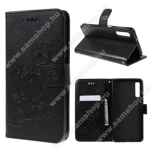 Notesz / mappa tok - PILLANGÓ / VIRÁG MINTÁS - FEKETE - oldalra nyíló, rejtett mágneses záródás, belső zseb, asztali tartó funkció, szilikon belső - SAMSUNG SM-A750F Galaxy A7 (2018)