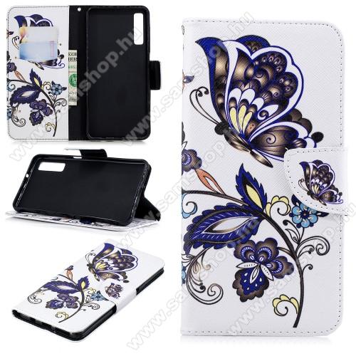 Notesz / mappa tok - PILLANGÓ / VIRÁG MINTÁS - oldalra nyíló, rejtett mágneses záródás, belső zseb, asztali tartó funkció, szilikon belső - SAMSUNG SM-A750F Galaxy A7 (2018)