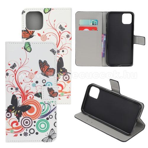 Notesz / mappa tok - PILLANGÓ / VIRÁG MINTÁS - oldalra nyíló, rejtett mágneses záródás, belső zseb, asztali tartó funkció, szilikon belső - APPLE iPhone 11 Pro