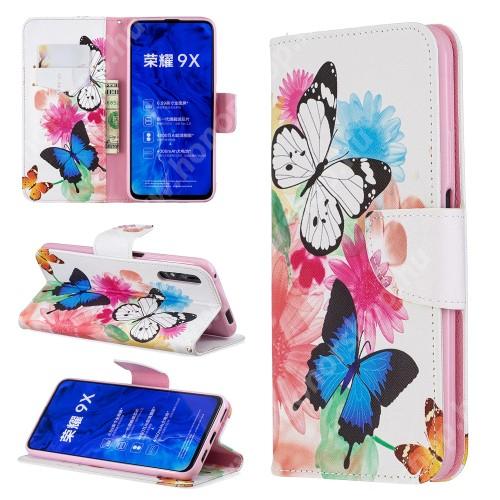 HUAWEI Honor 9X (For China market)Notesz / mappa tok - PILLANGÓ / VIRÁG MINTÁS - oldalra nyíló, rejtett mágneses záródás, belső zseb, asztali tartó funkció, szilikon belső - HUAWEI P smart Pro (2019) / HUAWEI Y9s / Honor 9X (For China market) / Honor 9X Pro (For China)