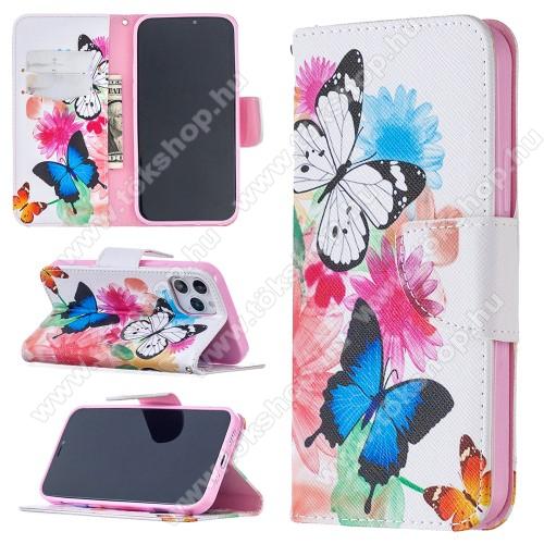 Notesz / mappa tok - PILLANGÓ / VIRÁG MINTÁS - oldalra nyíló, rejtett mágneses záródás, belső zseb, asztali tartó funkció, szilikon belső - APPLE iPhone 12 / APPLE iPhone 12 Pro