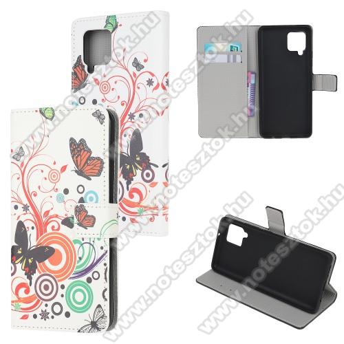 Notesz / mappa tok - PILLANGÓ / VIRÁG MINTÁS - oldalra nyíló, rejtett mágneses záródás, bankkártyatartó zseb, asztali tartó funkció, szilikon belső - SAMSUNG Galaxy A42 5G (SM-A425F)