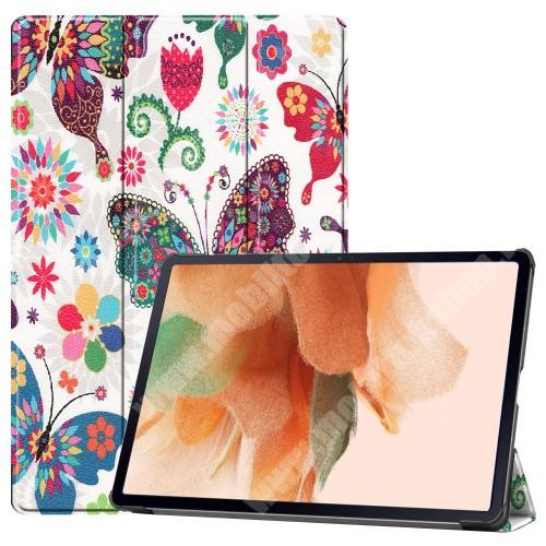 Notesz / mappa tok - PILLANGÓ / VIRÁG MINTÁS - oldalra nyíló flip cover, TRIFOLD asztali tartó funkció, mágneses záródás, ceruzatartó, erősített sarkok, műanyag belső - SAMSUNG Galaxy Tab S7 FE (SM-T730) / Galaxy Tab S7 FE 5G (SM-T736)