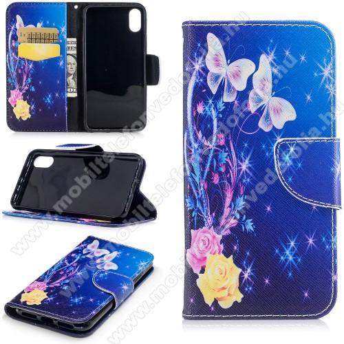 Notesz / mappa tok - PILLANGÓ / VIRÁG MINTÁS - oldalra nyíló, rejtett mágneses záródás, belső zseb, asztali tartó funkció, szilikon belső - APPLE iPhone X / APPLE iPhone XS