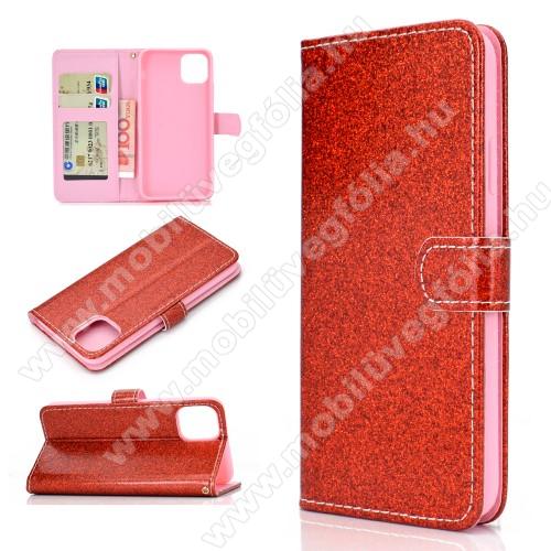 Notesz / mappa tok - PIROS - csillogó, flitteres, oldalra nyíló, rejtett mágneses záródás, belső zseb, asztali tartó funkció, szilikon belső - APPLE iPhone 11 Pro