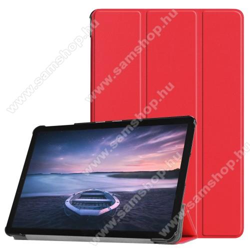Notesz / mappa tok - PIROS - oldalra nyíló flip cover, TRIFOLD asztali tartó funkciós, mágneses záródás, műanyag belső - SAMSUNG SM-T830 Galaxy Tab S4 10.5 (Wi-Fi) / SAMSUNG SM-T835 Galaxy Tab S4 10.5 (LTE)