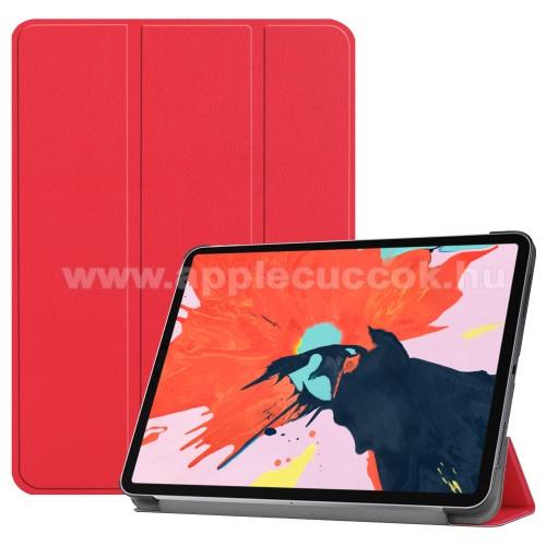 Notesz / mappa tok - PIROS - oldalra nyíló flip cover, TRIFOLD asztali tartó funkciós, mágneses záródás - APPLE iPad Pro 12.9 (2018)