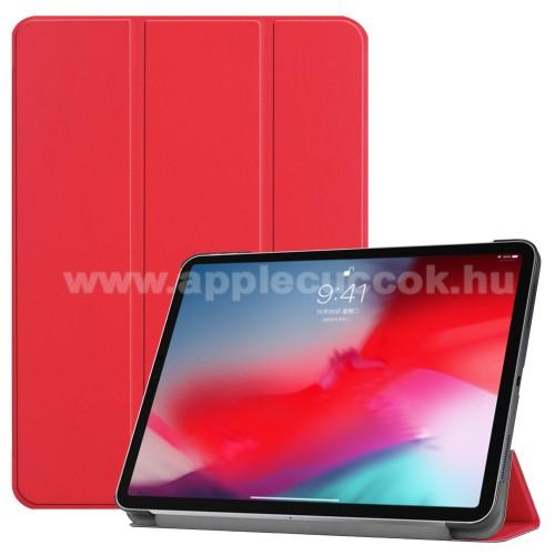 Notesz / mappa tok - PIROS - oldalra nyíló flip cover, TRIFOLD asztali tartó funkciós, mágneses záródás - APPLE iPad Pro 11 (2018)