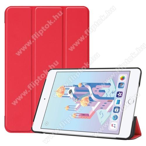 Notesz / mappa tok - PIROS - oldalra nyíló flip cover, TRIFOLD asztali tartó funkciós, mágneses záródás, műanyag belső - Apple iPad mini (2019)