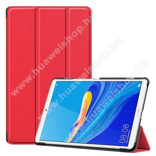 Notesz / mappa tok - PIROS - oldalra nyíló flip cover, TRIFOLD asztali tartó funkciós, erősített sarkok, mágneses záródás, műanyag belső - HUAWEI MediaPad M6 8.4