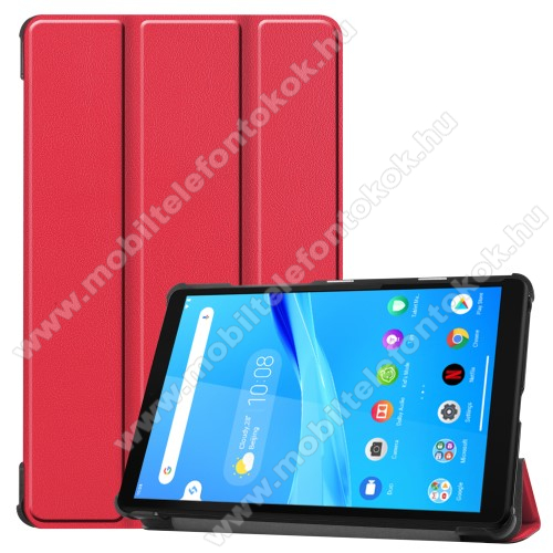 Notesz / mappa tok - PIROS - oldalra nyíló flip cover, TRIFOLD asztali tartó funkciós, erősített sarkok, mágneses záródás, műanyag belső - Lenovo Tab M8 (HD) / Lenovo Tab M8 (FHD)