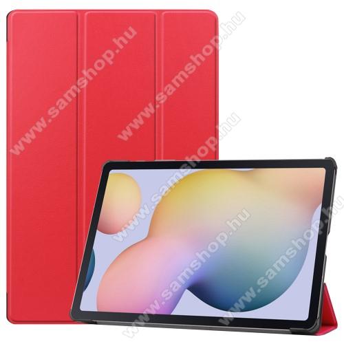 SAMSUNG Galaxy Tab S7 Plus (SM-T970/T976B)Notesz / mappa tok - PIROS - oldalra nyíló flip cover, TRIFOLD asztali tartó funkciós, erősített sarkok, műanyag belső - SAMSUNG Galaxy Tab S7 Plus (SM-T970/T976B)