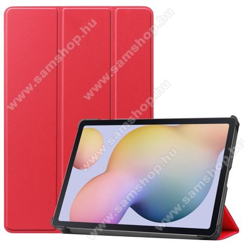 SAMSUNG Galaxy Tab S7 (SM-T870/T875/T876B)Notesz / mappa tok - PIROS - oldalra nyíló flip cover, TRIFOLD asztali tartó funkciós, erősített sarkok, műanyag belső - SAMSUNG Galaxy Tab S7 (SM-T870/T875/T876B)