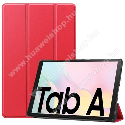 Notesz / mappa tok - PIROS - oldalra nyíló flip cover, TRIFOLD asztali tartó funkciós, mágneses záródás, műanyag belső - SAMSUNG Galaxy Tab A7 10.4 (2020) (SM-T500/SM-T505)
