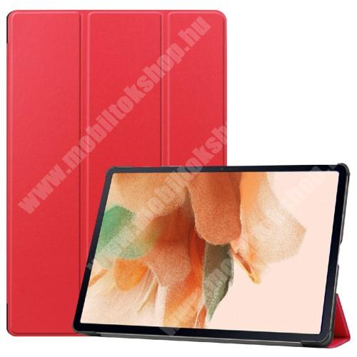 Notesz / mappa tok - PIROS - oldalra nyíló flip cover, TRIFOLD asztali tartó funkciós, erősített sarkok, mágneses záródás, ceruzatartó, műanyag belső - SAMSUNG Galaxy Tab S7 FE (SM-T730) / Galaxy Tab S7 FE 5G (SM-T736)