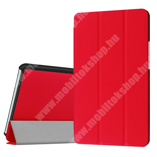 HUAWEI MediaPad M3 8.4 Notesz / mappa tok - PIROS - oldalra nyíló flip cover, TRIFOLD asztali tartó funkciós, mágneses záródás - HUAWEI MediaPad M3 8.4