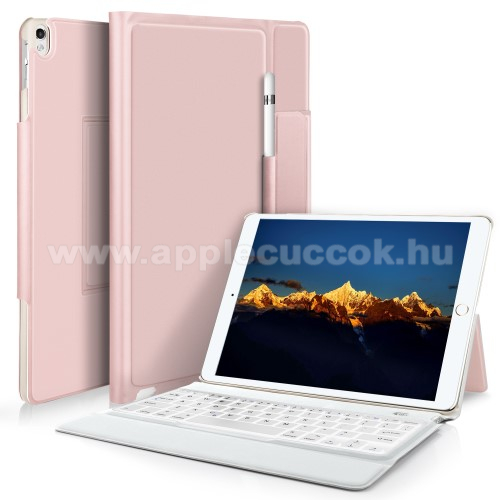 Notesz / mappa tok - ROSE GOLD - asztali �llv�ny funkci�, be�p�tett bluetooth billenty?zet, ON/OFF funkci�s - APPLE iPad Pro 10.5 (2017)