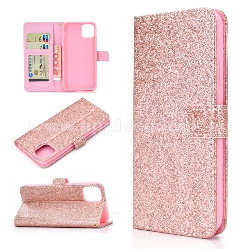 Notesz / mappa tok - ROSE GOLD - csillogó, flitteres, oldalra nyíló, rejtett mágneses záródás, belső zseb, asztali tartó funkció, szilikon belső - APPLE iPhone 11 Pro