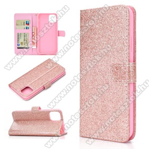 Notesz / mappa tok - ROSE GOLD - csillogó, flitteres, oldalra nyíló, rejtett mágneses záródás, belső zseb, asztali tartó funkció, szilikon belső - APPLE iPhone 11