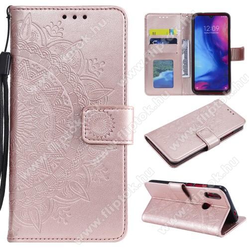 Notesz / mappa tok - ROSE GOLD - MANDALA MINTÁS - oldalra nyíló, rejtett mágneses záródás, belső zseb, asztali tartó funkció, szilikon belső - Xiaomi Redmi Note 7 / Xiaomi Redmi Note 7 Pro / Xiaomi Redmi Note 7S