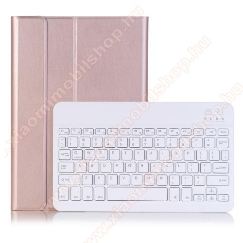Notesz / mappa tok - ROSE GOLD - oldalra nyíló, mágneses záródás, asztali tartó funkció, kivehető bluetooth billentyűzet (ANGOL KIOSZTÁSÚ!) - HUAWEI MediaPad M5 10 (2018) / HUAWEI MediaPad M5 10 Pro (2018)