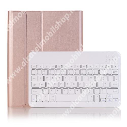 Notesz / mappa tok - ROSE GOLD - oldalra nyíló, mágneses záródás, asztali tartó funkció, kivehető bluetooth billentyűzet (ANGOL KIOSZTÁSÚ!) - APPLE iPad Pro 10.5 (2017) / APPLE iPad Air (2019)