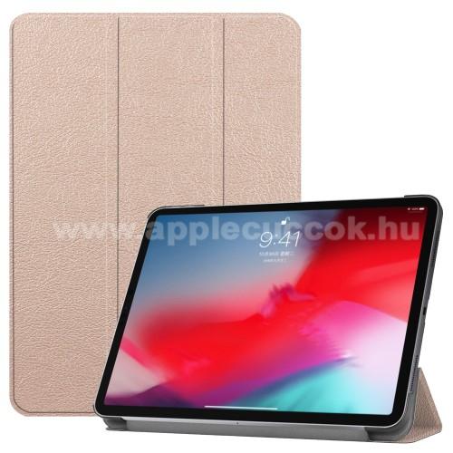 Notesz / mappa tok - ROSE GOLD - oldalra nyíló flip cover, TRIFOLD asztali tartó funkciós, mágneses záródás - APPLE iPad Pro 11 (2018)