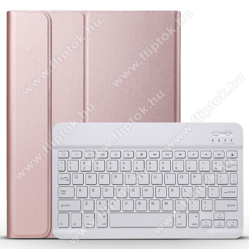 Notesz / mappa tok - ROSE GOLD - oldalra nyíló, mágneses záródás, asztali tartó funkció, műanyag belső, kivehető bluetooth billentyűzet (ANGOL KIOSZTÁSÚ!) - APPLE iPad Pro 11 (2018)
