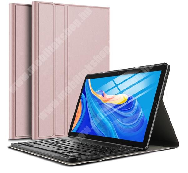 Notesz / mappa tok - ROSE GOLD - oldalra nyíló, mágneses záródás, asztali tartó funkció, kivehető bluetooth billentyűzet (ANGOL KIOSZTÁSÚ!) - HUAWEI MediaPad M6 10.8