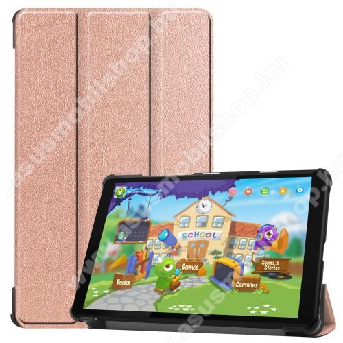 Notesz / mappa tok - ROSE GOLD - oldalra nyíló flip cover, TRIFOLD asztali tartó funkciós, erősített sarkok, mágneses záródás, műanyag belső - Lenovo Tab M8 (HD) / Lenovo Tab M8 (FHD)