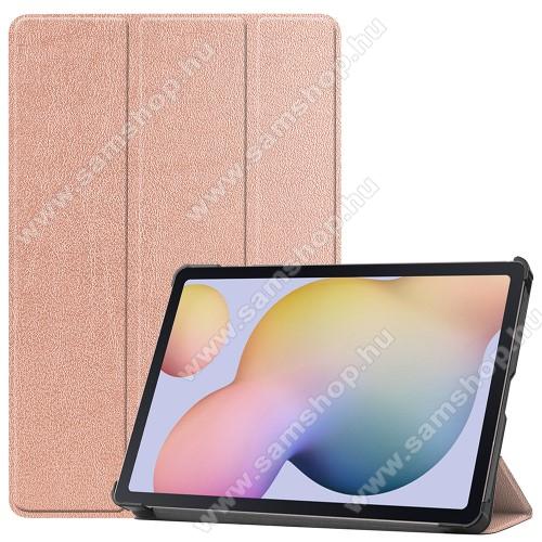 SAMSUNG Galaxy Tab S7 (SM-T870/T875/T876B)Notesz / mappa tok - ROSE GOLD - oldalra nyíló flip cover, TRIFOLD asztali tartó funkciós, erősített sarkok, műanyag belső - SAMSUNG Galaxy Tab S7 (SM-T870/T875/T876B)