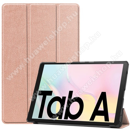 Notesz / mappa tok - ROSE GOLD - oldalra nyíló flip cover, TRIFOLD asztali tartó funkciós, mágneses záródás, műanyag belső - SAMSUNG Galaxy Tab A7 10.4 (2020) (SM-T500/SM-T505)