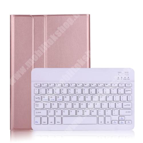 Notesz / mappa tok - ROSE GOLD - oldalra nyíló, mágneses záródás, asztali tartó funkció, kivehető bluetooth billentyűzet (ANGOL KIOSZTÁSÚ!) - SAMSUNG Galaxy Tab A7 10.4 (2020) (SM-T500/SM-T505)